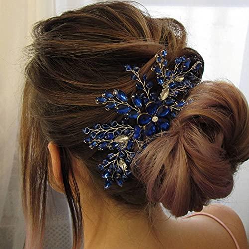 BERYUAN Damen Royal Sapphire Opal Kopfschmuck Blau Kristall Blume Haarschmuck Hochzeit Haarschmuck Geschenk für sie Party Kopfschmuck für Braut Brautjungfer Mädchen (blau)