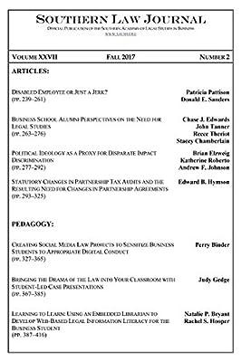 Southern Law Journal, Vol. XXVII, No. 2, Fall 2017