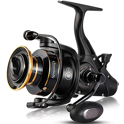 Sougayilang Bait Feeder Spinning Reels ,33Lbs Drag Carp Fishing Reel Front and Rear Drag System, Freshwater Fishing Reel for Live Liner Bait Fishing Action