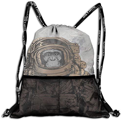 DPASIi Bolsa de cordón con diseño de mono, multicolor con diseño de astronauta y estampado de mono, bolsa de deporte, bolsa de yoga, bolsa de zapatos de poliéster, cierre de cuerda ajustable