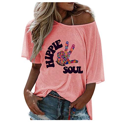 Dorical Sommer Rundhals Kurzarm Letter Print Klassisch Loose T-Shirt Top Tshirt Casual T-Shirt Tunika Top Bluse Oberteile Einfach Funny (S, 02 Rosa)