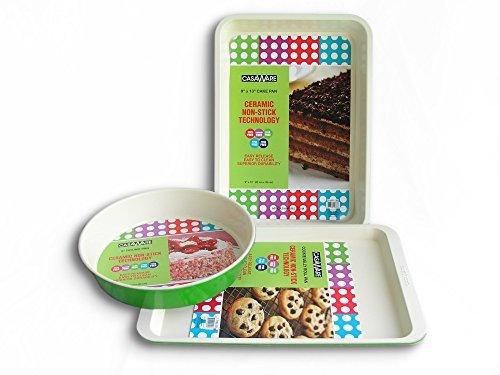 casaWare 3pc Green Multi- Size Baking Set (Cookie Sheet/Rectangular Cake Pan/Round Cake Pan)