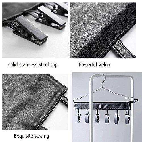 Foldable Travel Clothes Hangers,Yatow Portable Hanging Rack Laundry Hanger PU Leather With 6 Clips Stainless Steel for Drying Clothing Towels Diapers Underwear Socks ,Lightweight (Black)