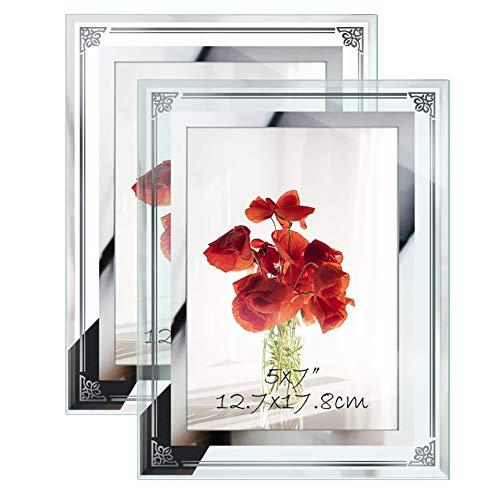 Amazon Brand - Eono Marco de Foto 13x18 de Vidrio para la Mesa, 2 Piezas de Portafotos de Cristal, Con el Borde Decorado de Flor y Vintage