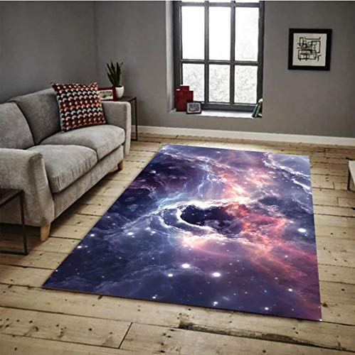 LGXINGLIyidian Alfombra Espléndida Galaxia del Universo Alfombra Suave Antideslizante para Decoración del Hogar Impresa En 3D P863E 80X150Cm