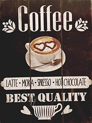 MR Cuadro de Madera Vintage Coffee Latte, Moka, Spresso, Hot Chocolate, 24x18x1 cms