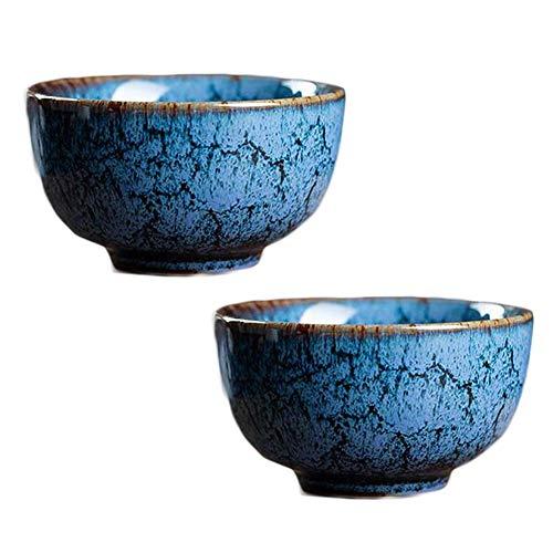 Pigeon Fleet 2,3 Unzen chinesische Kung Fu Teetasse handgemachtes Porzellan japanische Wein Tasse Teeschale, 2 Stück blau
