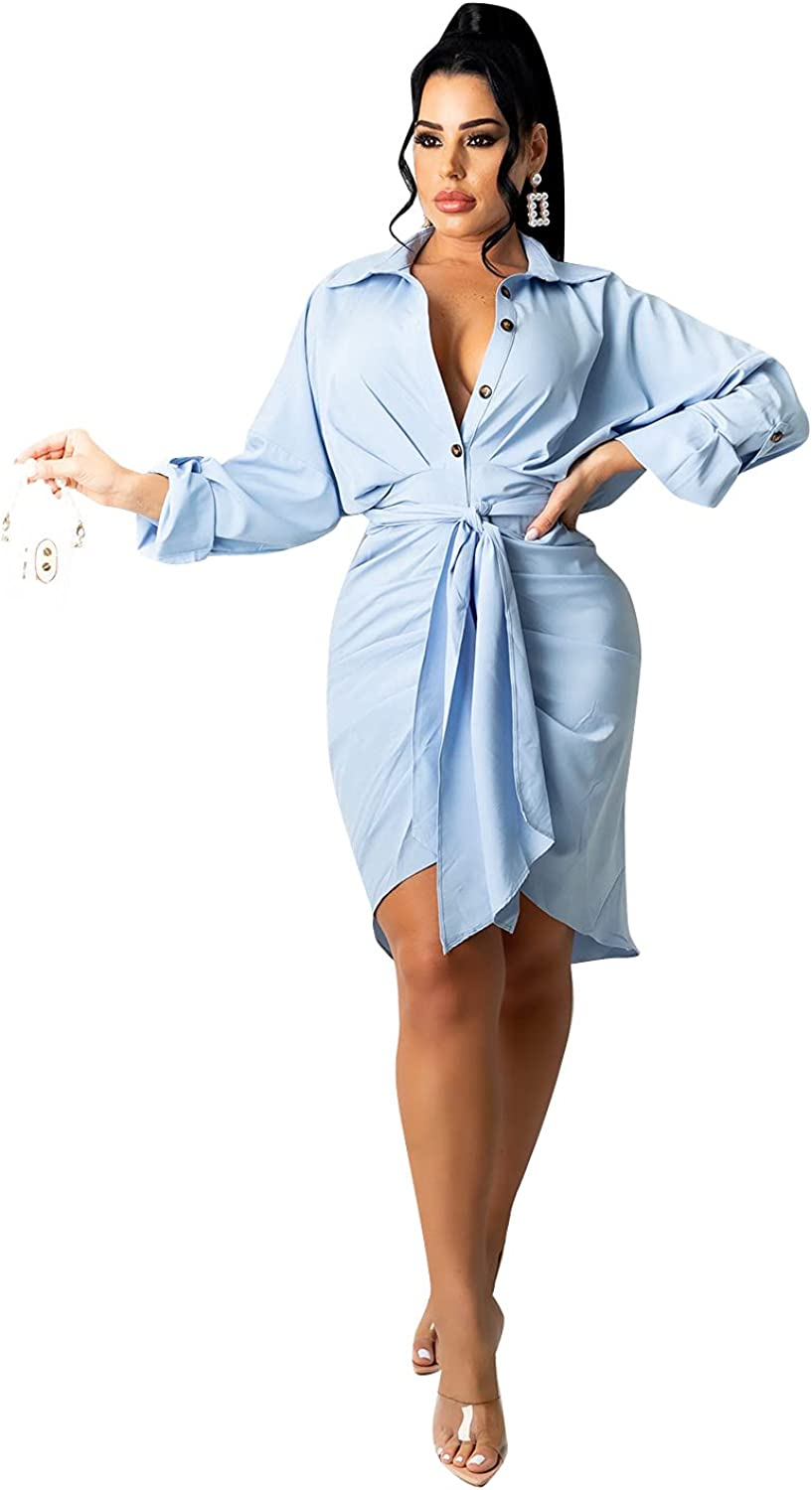 Ekaliy Women Button Down Shirt Dress Long Sleeve Belted Business Blouses Ruched Dresses