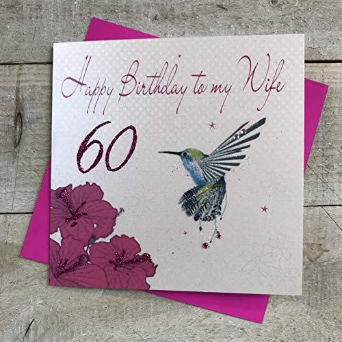 witte katoenen kaarten Gelukkig Vrouw 60, Handgemaakte 60e Verjaardagskaart (Humming Bird)