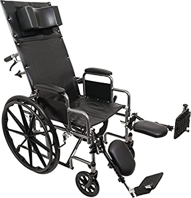 ProBasics Standard Reclining Wheelchair - Padded Detachable Desk Length Arms - 400 Pound Weight Capacity - Elevating Leg Rest