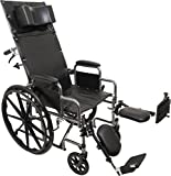 ProBasics Standard Reclining Wheelchair - Padded Detachable Desk Length Arms - 300 Pound Weight Capacity - Elevating Leg Rest, 16 x 16 inch Seat