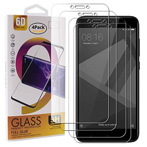Guran 4 Paquete Cristal Templado Protector de Pantalla para Xiaomi Redmi 4X Smartphone 9H Dureza Anti-Ara?azos Alta Definicion Transparente Película