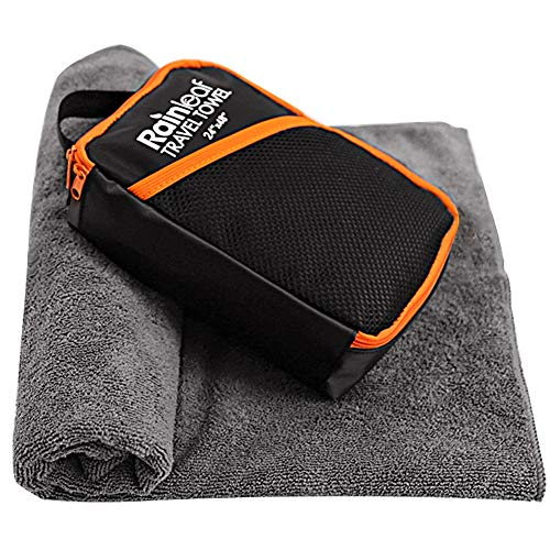 Rainleaf Microfiber Bath Towel Quick Dry Bath Swimming Towel,Oversized,Ultra-Compact,Super Absorbent,Washcloths for Bathroom, Shower,Travel,Backpacking-Gray 34'x60'