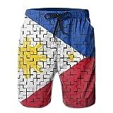 Quecci Pantaloncini Uomo,Costume da Bagno Uomo,Man Swimwear Swim Trunks Philippine Flag Water Resistant Running Beach Summer with Pockets