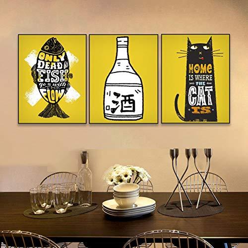 YXWLKG 3 Leinwandbilder 30 cm x 40 cm x 3 Stücke Kein Rahmen Leinwand Malerei Kalligraphie 3 Panel Wein Fisch Katze Poster und Drucke Wandbilder für Wohnzimmer Küche Decor