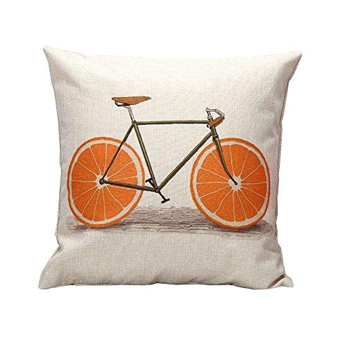 iHome Kussensloop Decoratieve Case fruit fiets, katoen linnen, ruimte 45 x 45 cm, oranje