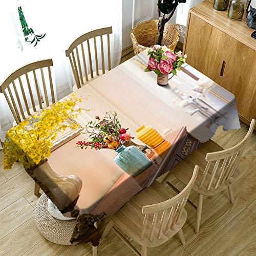 RFGED Hermoso Florero Arreglos Florales Fundas De Mesa Limpiar Paño De Mesa Mantel De Vinilo Impresión 3D Patrón Elegante Impermeable