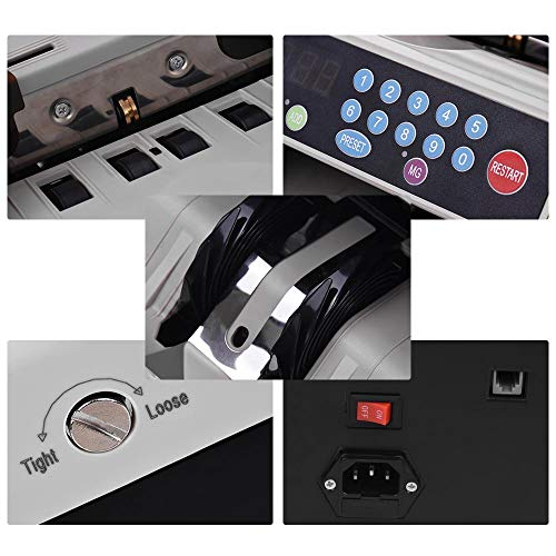 Decdeal Multi-Currency Bill Counter Automatic Money Counting Machine Cash Currency Banknote Detector Fast Count with UV/MG Counterfeit Bill Detection LED Display for USD Euro Pound CNY HKD etc