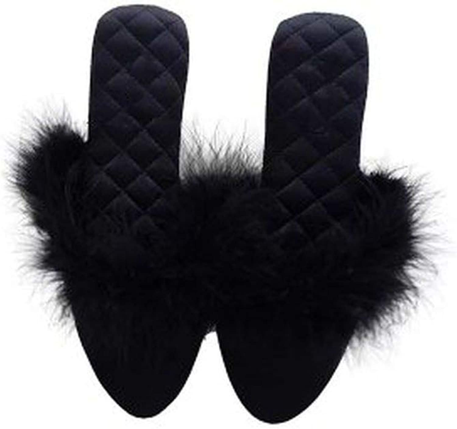 YOU LOOK PRETTY Women Flip Flop Pointed Toe Home Floor Soft Slippers Warm shoes