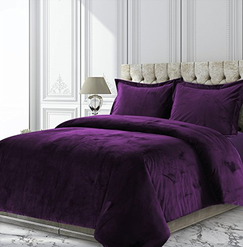 Tribeca Living VENICEDUVETQUPU Venice Velvet Oversized Solid Duvet Set, Queen, Purple