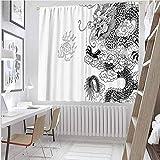 Toopeek - Cortina térmica con diseño oriental simbólico para salón o dormitorio, 100 x 200 cm, color negro y blanco