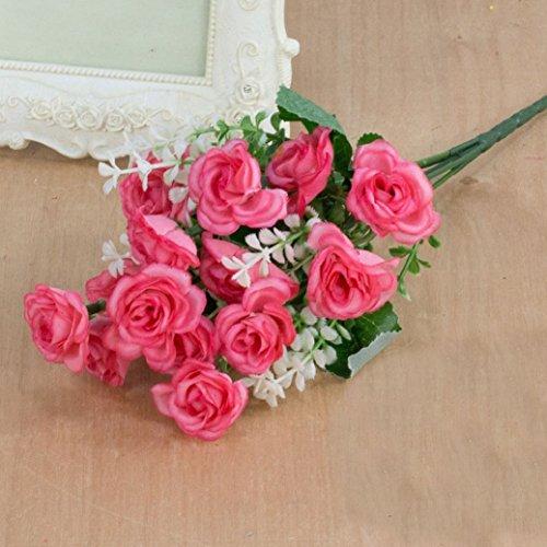 Gemini_mall® 1 Strauß rosa Rosen künstlicher Blumenstrauß Home Office Dekor Blau