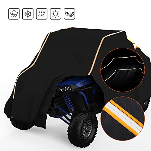 UTV Cover, kemimoto Heavy Duty RZR Cover 2-3 seaters with Reflective Strips Compatible with 2021 Polaris RZR Ranger Honda Kawasaki All Weather Outdoor Protection Cover