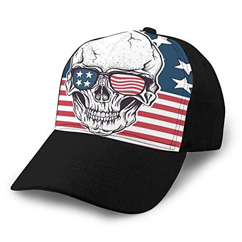 Jeans Unisex Gorra de béisbol Sombrero clásico de algodón para papá Gorra Lisa Ajustable Calavera Americana con Gafas de Sol en la Bandera de EE. UU. Gorra de béisbol Unisex