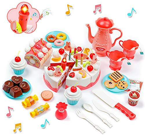 Birthday Cake Toy with Lights & Birthday Music, Pretend Cutting Play Food Kids Toy Set Cutting Cake, 82 PCS Food Kitchen Toy with Tea Set Bread Roll, Chocolate, Sandy & Dessert, Gift for Girls Boys