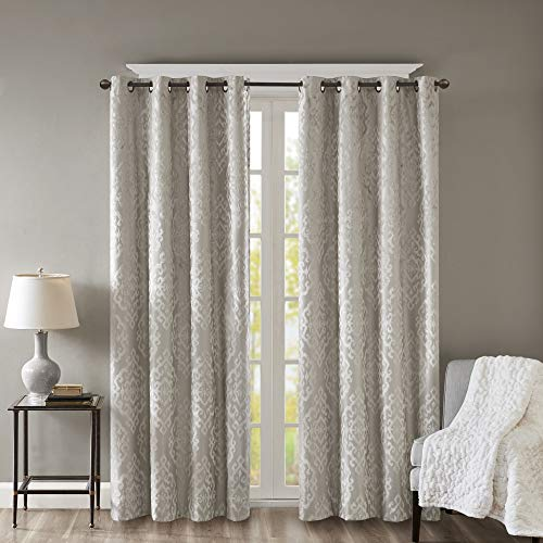"""Blackout Curtains For Bedroom , Luxury Grommet Champagne Window Curtains For Living Room Family Room , Mirage Damask Fabric Grommet Black Out Window Curtain For Kitchen, 50X95"""", 1-Panel Pack"""