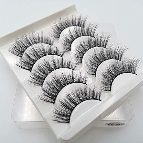 QFWN 5 Paires 3D Cils naturels Faux Cils Faux Cils Doux Cils Outils de Maquillage en Gros Extension (Color : 3D 48)