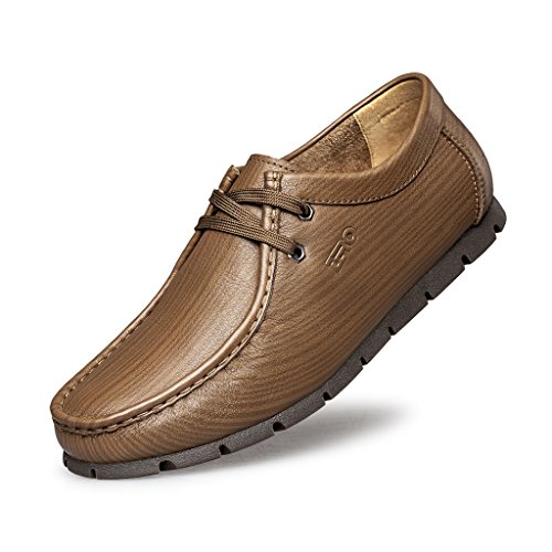 ZRO Men's Fashion Lace-Up Mocc-Toe Casual Oxford Driving Shoe KHAKI US 10