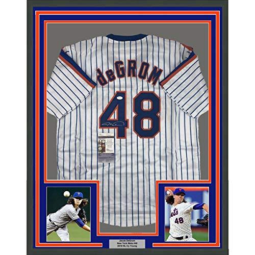 Framed Autographed/Signed Jacob DeGrom 33x42 New York NY Pinstripe Baseball Jersey JSA COA