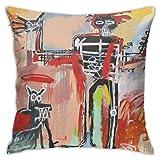 LongTrade Jean-Michel Basquiat P58 Fodera per Cuscino per Fodera per Cuscino Cuscino Quadrato Decorativo Moderno per Divano casa 18x18 Pollici