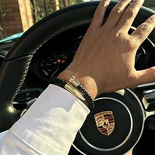 DeemoShop Mcllroy Bracelets Men brackelts Bangles Pulseiras 6mm Weave Genuine Leather Nail Bracelet Charm Love Cuff Bracelet Masculina