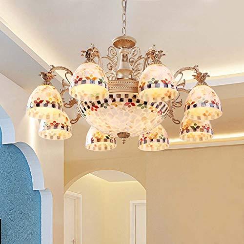 XNCH Tiffany Style Chandelier Mediterranean Pendant Lamp Lights Pastoral Glass Suspension Lamp Bedroom Restaurant Living Room Ceiling Hanging Lights-8