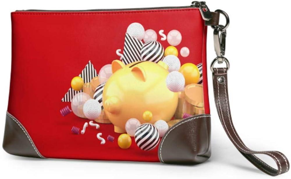 Wristlet Handbag Orange Max 53% OFF Piggy San Francisco Mall Bank On Leather Gold Coin