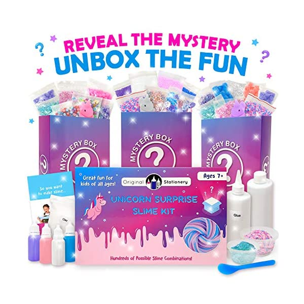 Original Stationery Mystery Slime Kit Surprise - DIY Slime Supplies Kit with Mystery Slime Box Add Ins for Fluffy, Cloud, Crunchy, Slime Activator, Unicorn Stuff, More 5