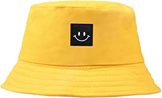 a95ac5c4 aaa6shopping Smiley Face Patch Solid Color Folding Fisherman Hat Outdoor Men  Women Bucket Cap (Yellow