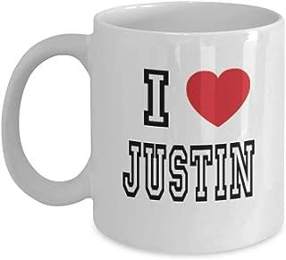 11oz I Love Justin Mug Lover Gift Coffee Funny Idea Tea Cup Cute Ceramic Present Gag,al3119