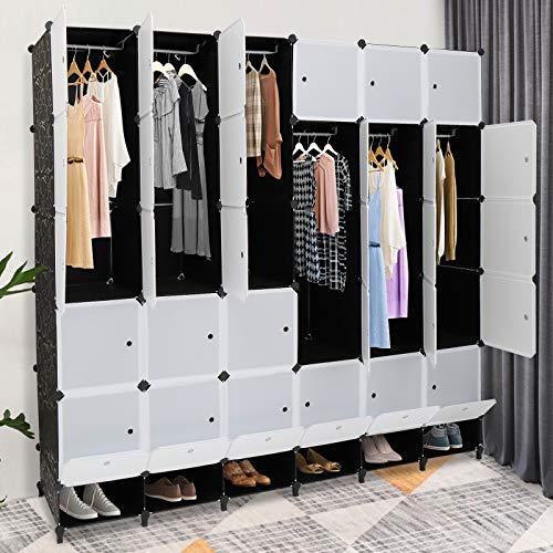 VINGLI Portable Closet Shelves 30 Cube Clothes Organizer Plastic Playroom Storage Storage Closet DIY Cube Storage Organizer with Doors and Hanging Rods