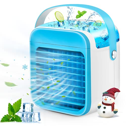 Portable Air Conditioner  Rechargeable Evaporative Personal Air Cooler Fan with 3 Speed&7 Color Lights  Quiet Conditioner Fan for Room/Office/Camping
