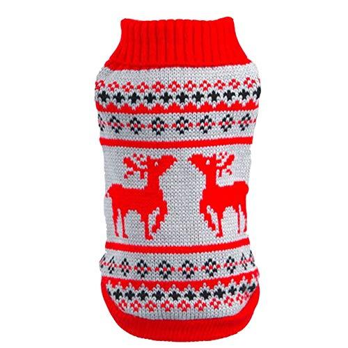 YAOTT Navidad Mascotas Suéter con diseño de Muñeco de Reno y Nieve Disfraces para Perros y Gatos Prendas de Punto de Invierno Chaqueta Invierno para Perroitos, Cuello Alto Rojo S