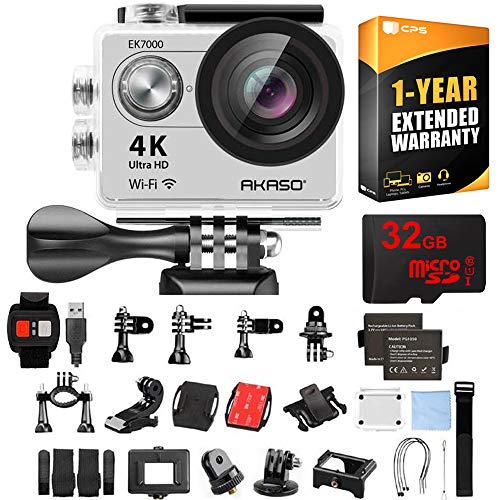 AKASO Ultra HD Waterproof Sports Action Camera (EK7000) with Sports Camera Starter Kit Bundle with 32GB MicroSD High-Speed Memory Card and 1 Year Extended Warranty