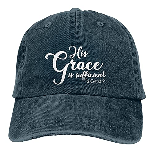 Jopath His Grace is Sufficient Hats, gorro de béisbol para mujer y hombre, cálido y grueso, azul marino, Talla única
