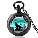 KaiKai Joyería del Bolsillo watchNew Bronce de la Vendimia Misterioso Lobo de Cuarzo Reloj de Bolsillo Retro Mujeres de los Hombres Lobo Colgante del Collar Antiguo (Color : P435black)