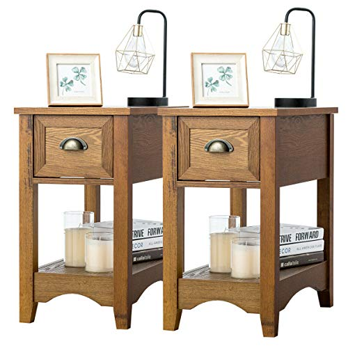 Giantex Chair Side End Table with Drawer, Retro Narrow Tiered Side Table, Compact Nightstand with Storing Shelf, End Table for Living Room Bedroom Home & Office (2, Tawny)