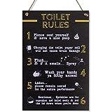 CARISPIBET Reglas del Baño - carteles decorativos para el hogar divertidos y chistosos, placas para decoración de baño accesorio para el hogar de 20 x 30 cm