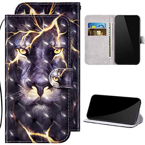 Kompatibel mit iPhone X/iPhone XS Hülle Ledertasche Brieftasche Schutzhülle Flip Case,3D Glitzer Glänzend Bunt Bemalt Muster PU Leder Klapphülle Tasche Handyhülle für iPhone X/XS,Löwe#