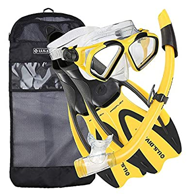 U.S. Divers Adult Cozumel Mask/Seabreeze II Snorkel/Proflex Fins/Gearbag, Small, Yellow